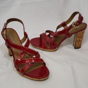 EUC Tahari Red Strappy Heeled Sandals Size 9